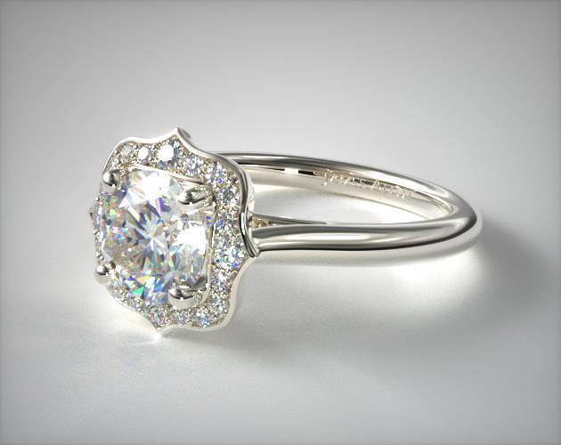 14k White Gold Vintage Inspired Antique Frame Halo Engagement Ring Engagement Rings Vintage Halo Vintage Inspired Rings Antique Wedding Rings
