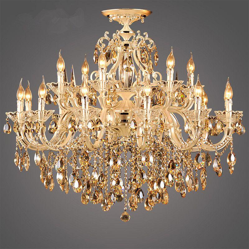Find More Chandeliers Information About Modern Luxury 9k Gold Crystal Chandelier Large Lustre Cognac Living R Modern Chandelier Chandelier Living Room Lighting
