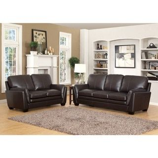 Shop for Abbyson Bella Top grain Leather Sofa and Loveseat Get free