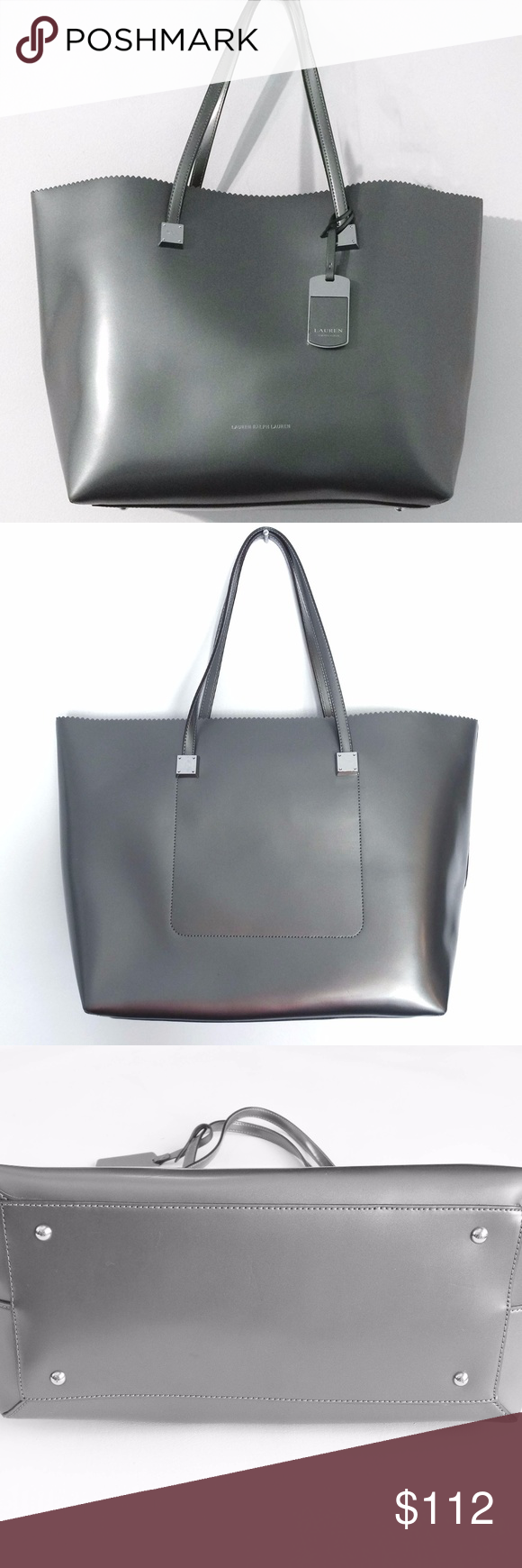 09050dd6f666 NWT Ralph Lauren Fulham Leather Tote Lauren Ralph Lauren Pewter Tote Bag.  Retail price Hanging