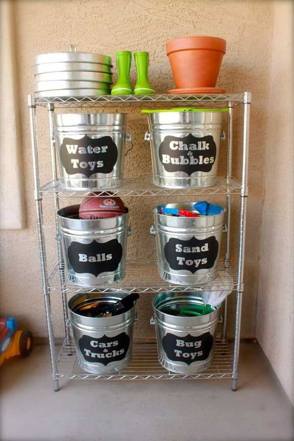 Outdoor toy storage using galvanized buckets 24
