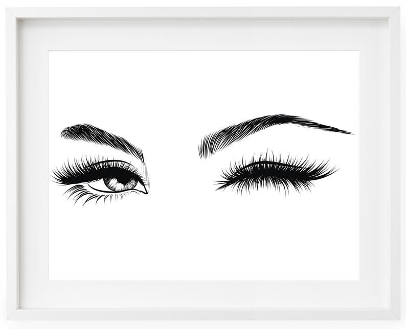 Winking Eyes Print, Eyelash Decor, Bedroom Wall Art, Eye Wall Art, Living Room Print, Bedroom Decor, Sexy Eyes Print, Black and White Print