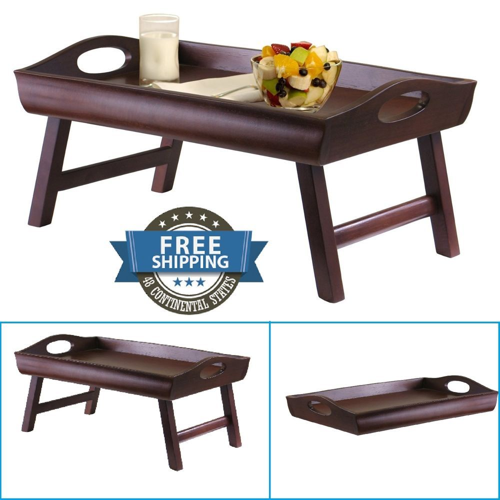 Breakfast In Bed Tray Curved Side Foldable Legs Dark Wood Folding Food Stand Winsomewood Bed Tray Breakfast In Bed Dark Wood