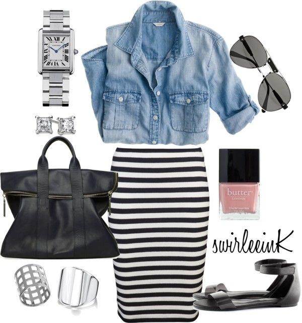 """black & white | denim | stripes | silver"" by swirleeink on Polyvore"