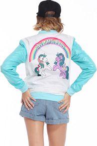 Dual-tone Unicorns Print Blue Coat