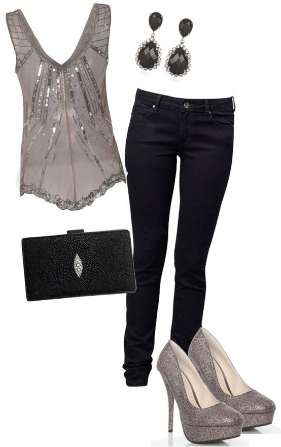 eae0766908fd I bought sexy silver pointed heels, black skinny jeans and need a silver top  or