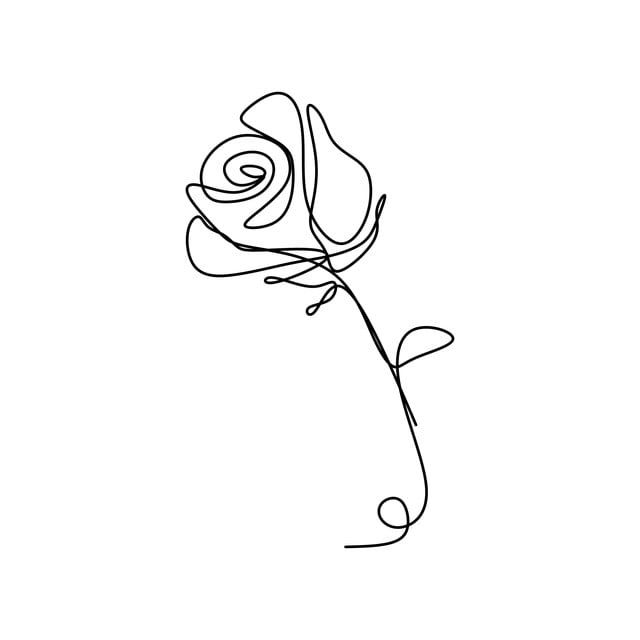Rose One Line Drawing Vector Illustration Awesome Design Stylized Outline Romantic Png And Vector With Transparent Background For Free Download Rose Sketch Rose Outline Drawing Romantic Drawing