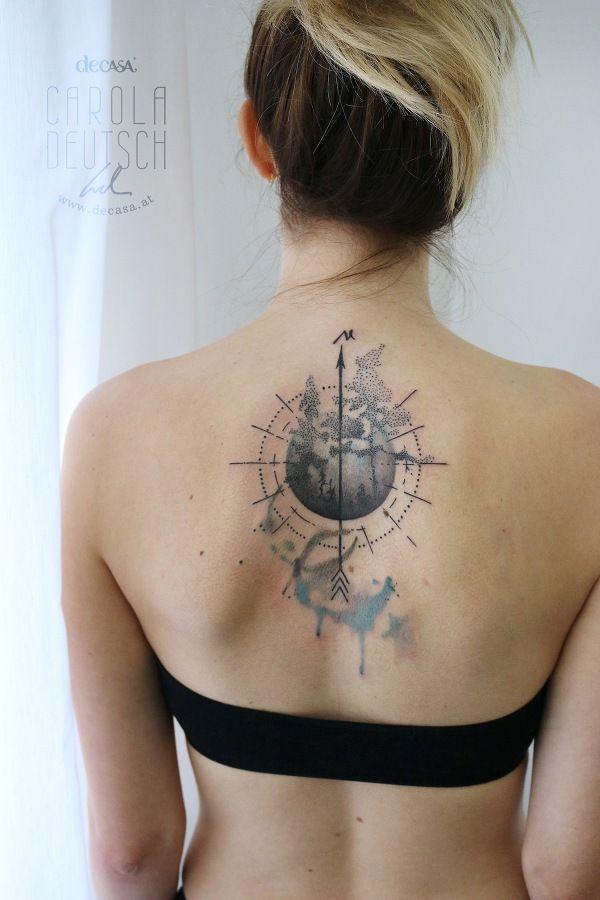 Feines Kompass Tattoo Mit Weltkarte Tattoo Tattoos Tattoo