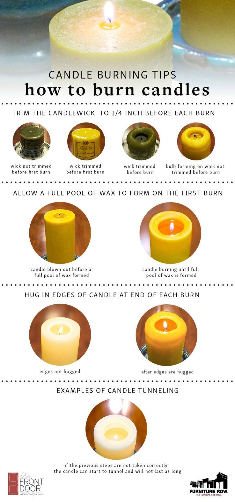 Infographic How To Burn Pillar Candles Burning Candle Candle Making Candles