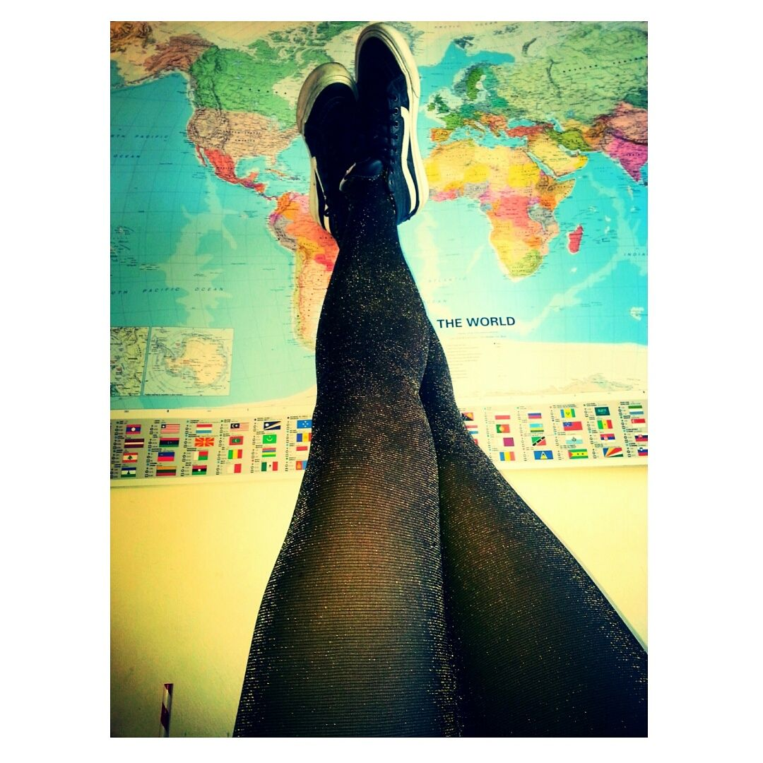 Day dreaming about travelling on my giant world map and glittery tights. Hello world. #map #vans #wanderlust #travel #beauty #women