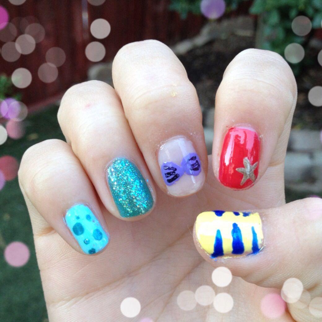 The Little Mermaid. Ariel. Flounder. Fins. Scales. Nails. Nail art ...