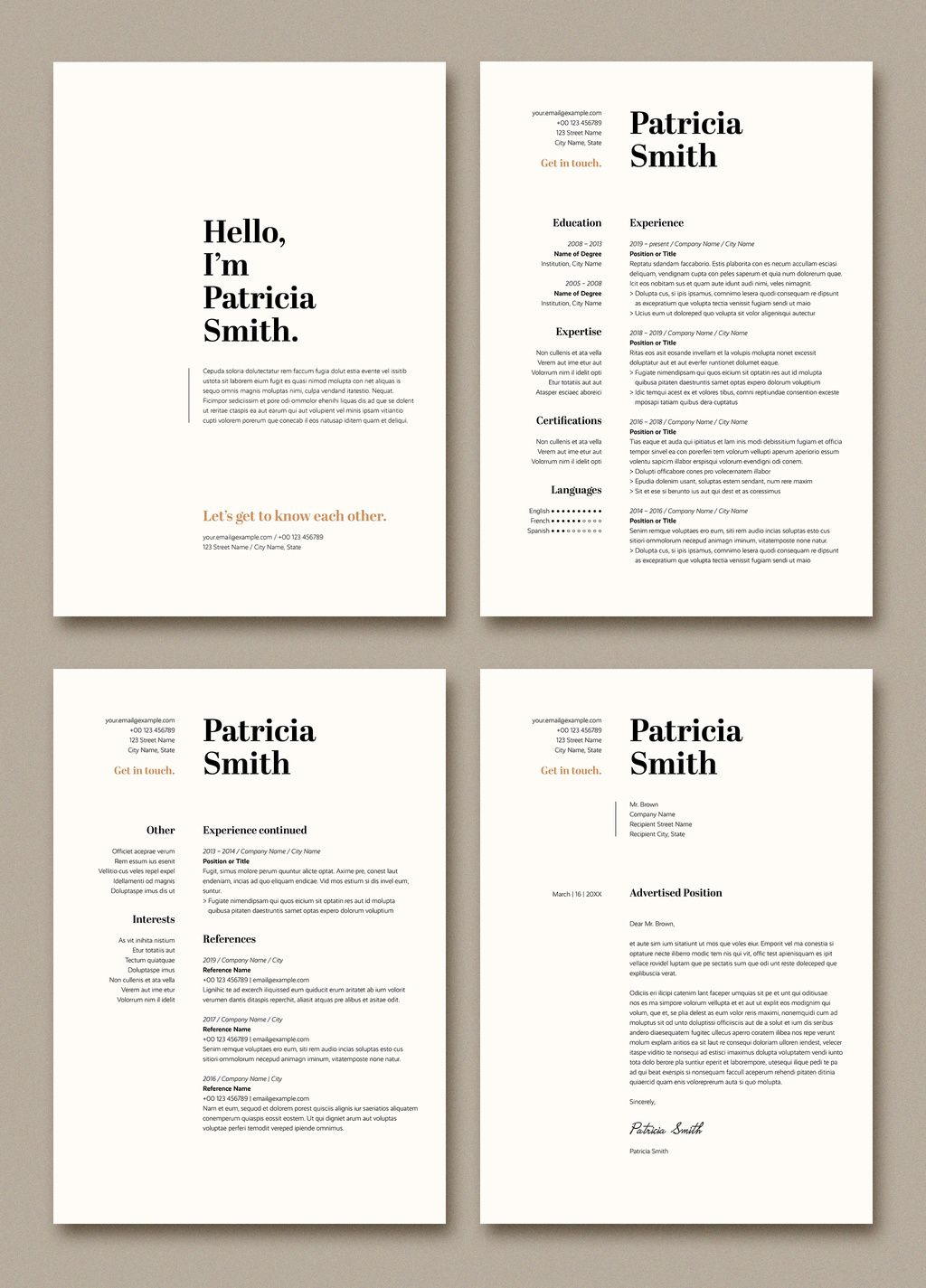 Resume and Cover Letter Layout with Tan Accents Stock Template