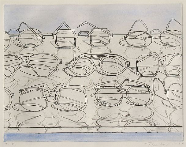 Wayne Thiebaud - Eyeglasses, 1994. Watercolor over hard ground etching with drypoint.