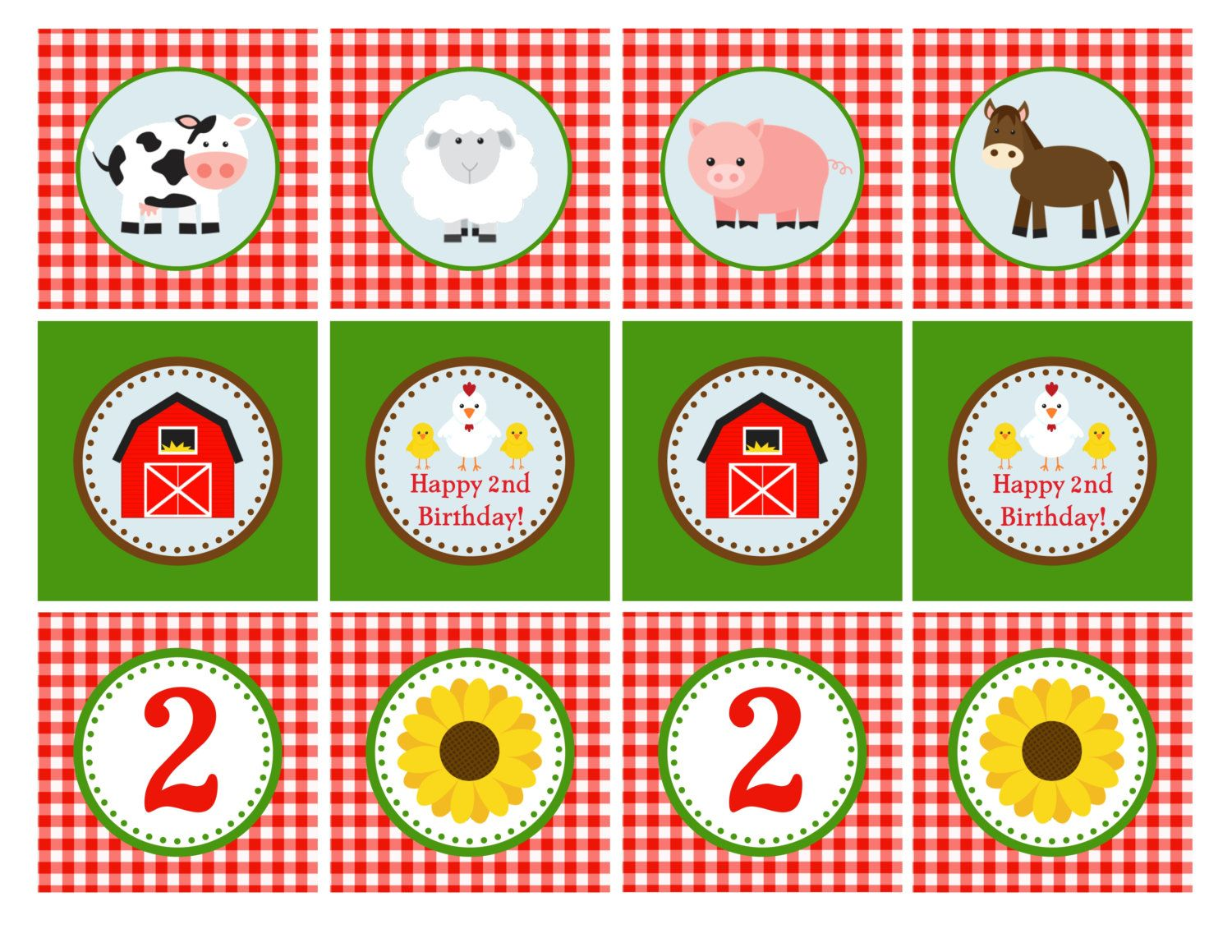 Printable Farm Animal Cupcake Toppers 2 By Geminicelebrations 8 00