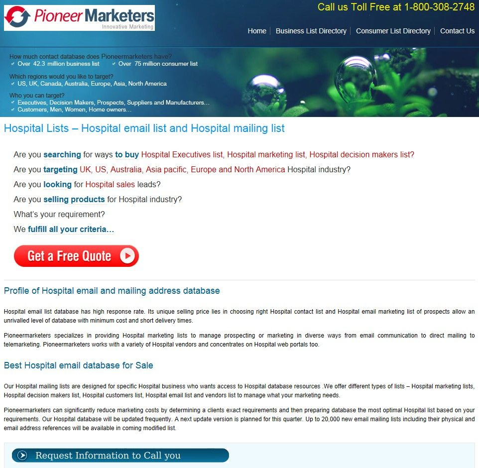 Affordable Hospital Email List from Pioneer Marketers - http://www ...
