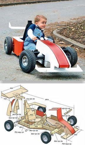 Diy Formula 1 Go Kart Children S Plans And Projects Woodarchivist Com Med Billeder Snedkerprojekter Traeprojekter Gocarts