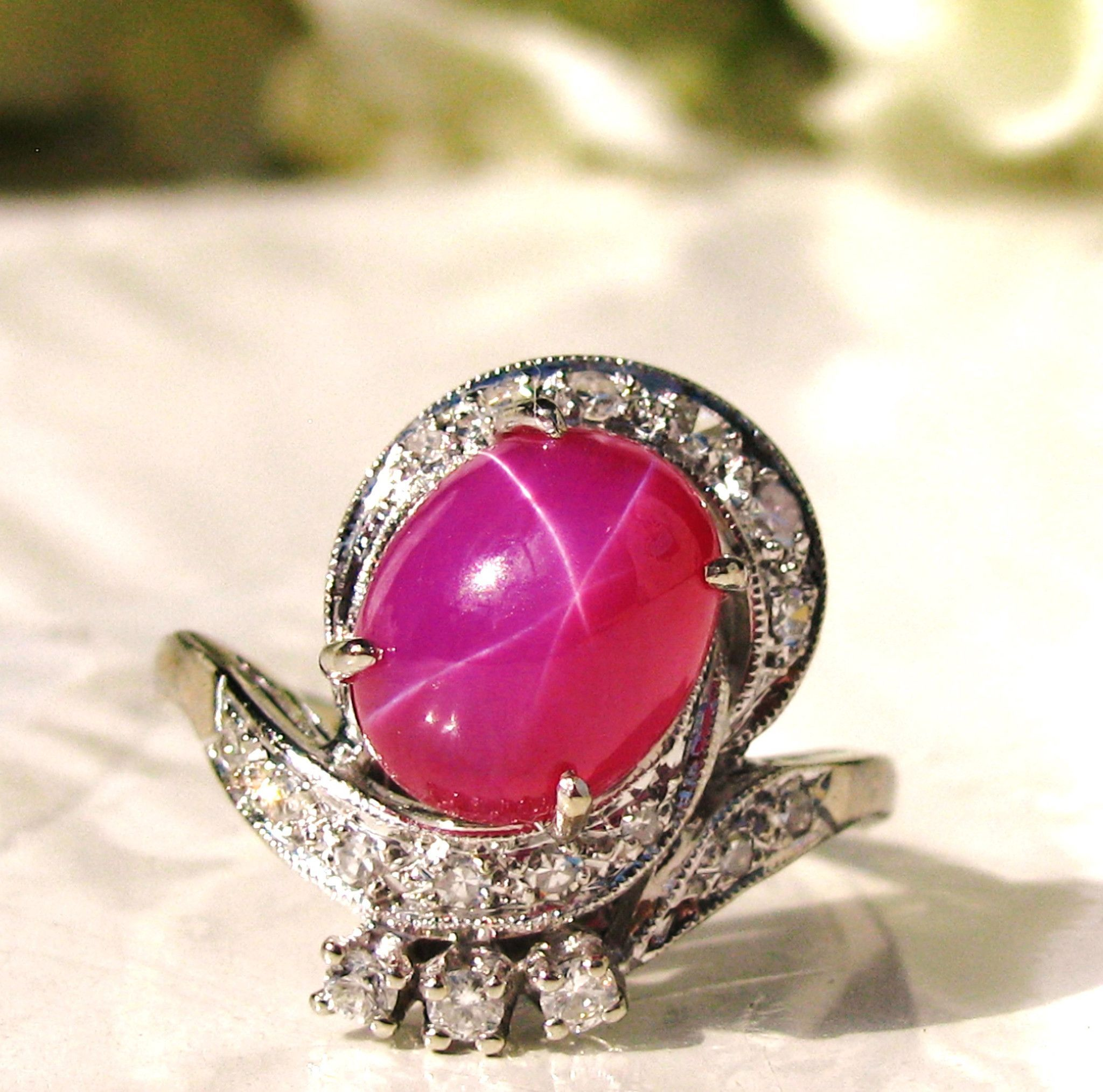 Vintage diamond u star ruby cabochon ring unique vintage engagement