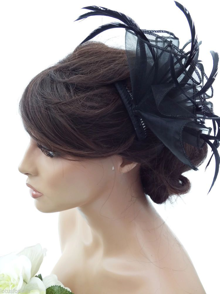 Looped Bow and Feathers Comb Slide Fascinator Bridal Prom Races Hair Accessories