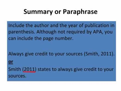 Basic Of Apa In Text Citation Autism Book School Library How To Paraphrase And Cite