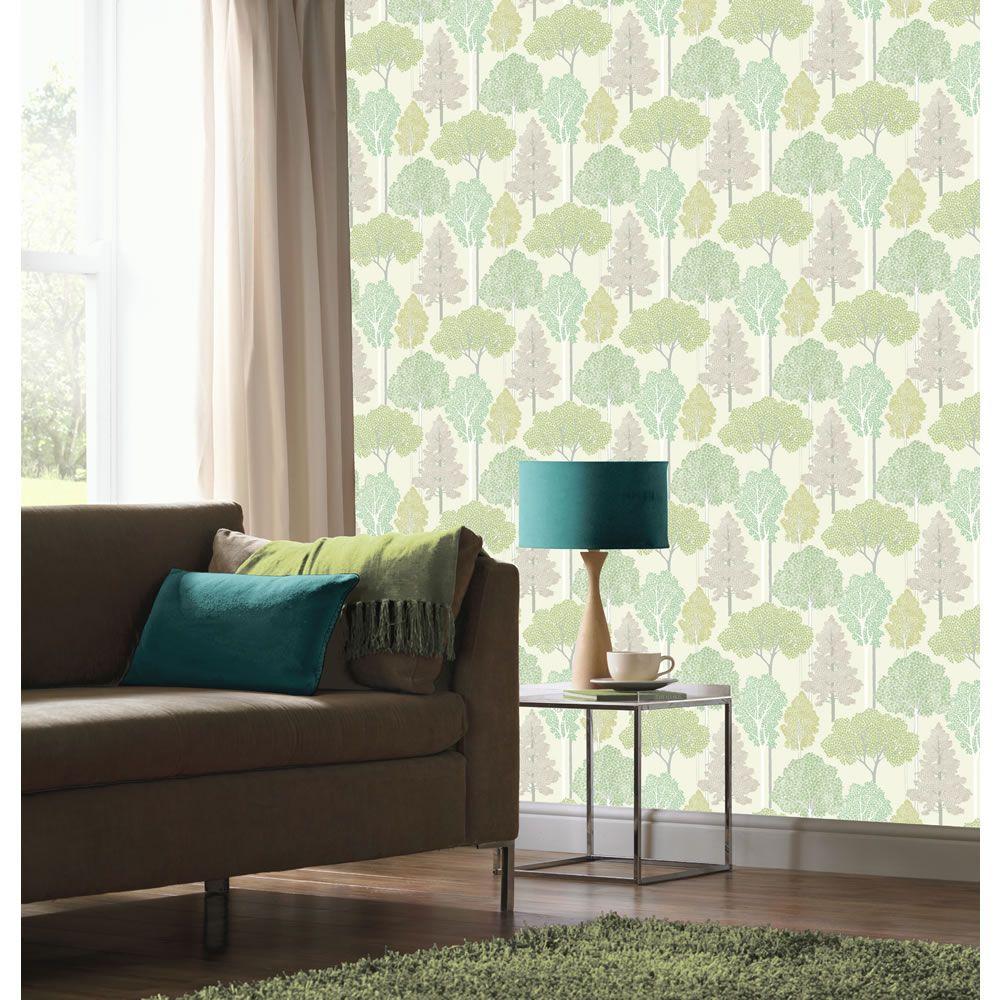 Arthouse Ellwood Green Wallpaper Decoración hogar, Papel