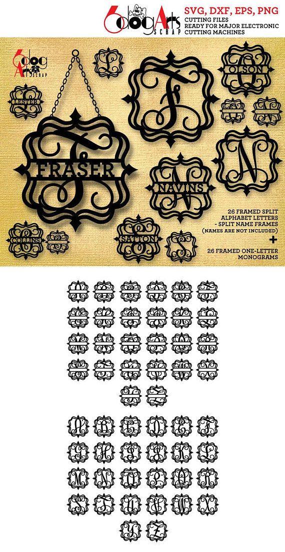 Split Framed Alphabet SVG DXF Vector Cut Files Monogram Letters Iron