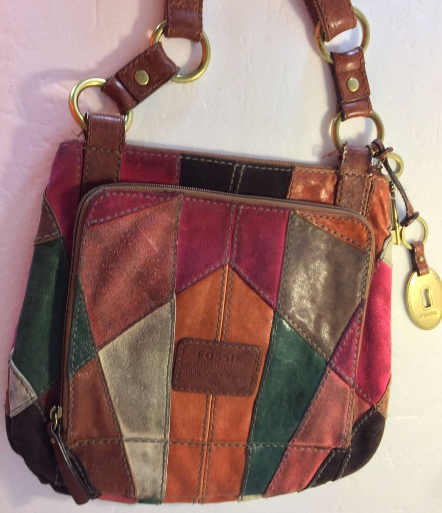 Fossil Leather and Suede Multi Patchwork Crossbody Bag Long Live Vintage  b2771f13fed0e