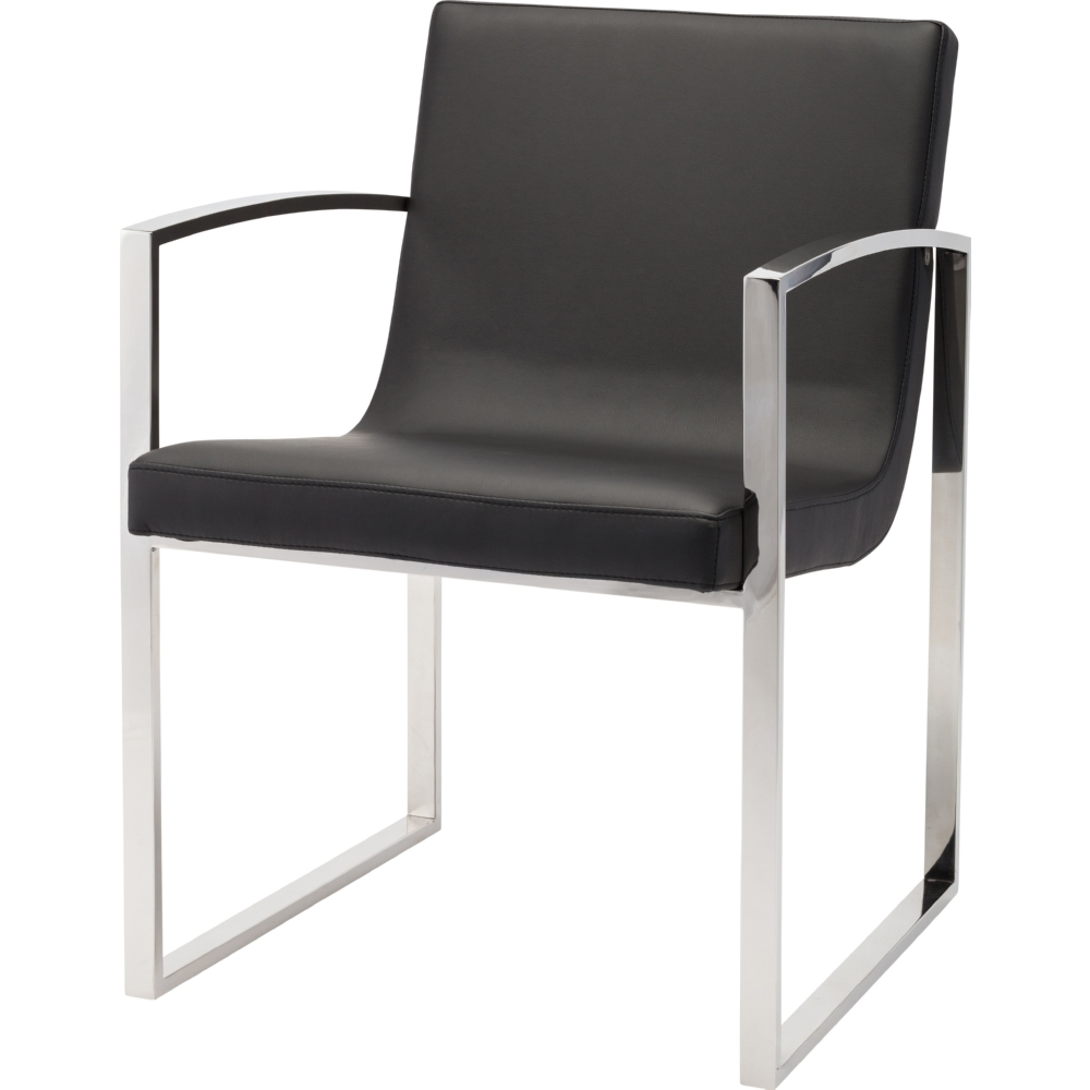 Clara Dining Chair In Black W Stainless Steel Arms Frame By