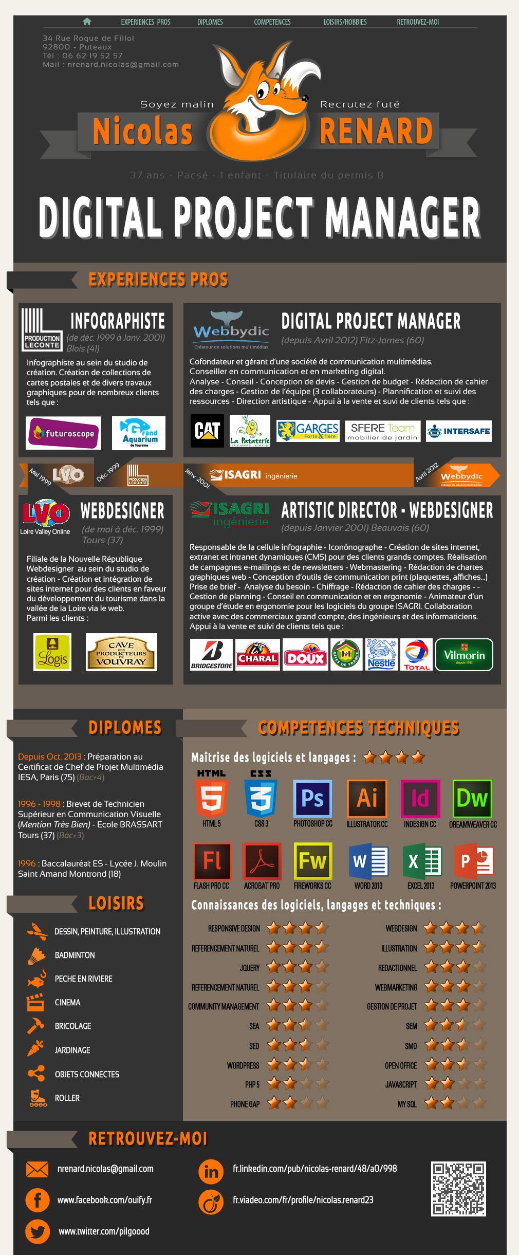 Epingle Par Nicolas Renard Sur Nicolas Renard Chef De Projet Digital Idee Cv Infographiste
