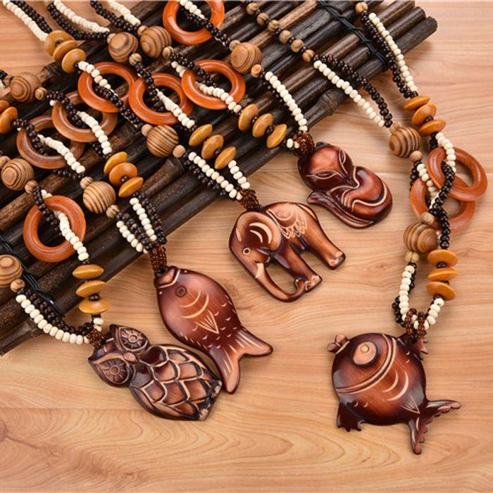 19 stili di modo della boemia dell'annata etnico legno animale lungo handmade bead collane e ciondoli per le donne dichiarazione dei monili della collana