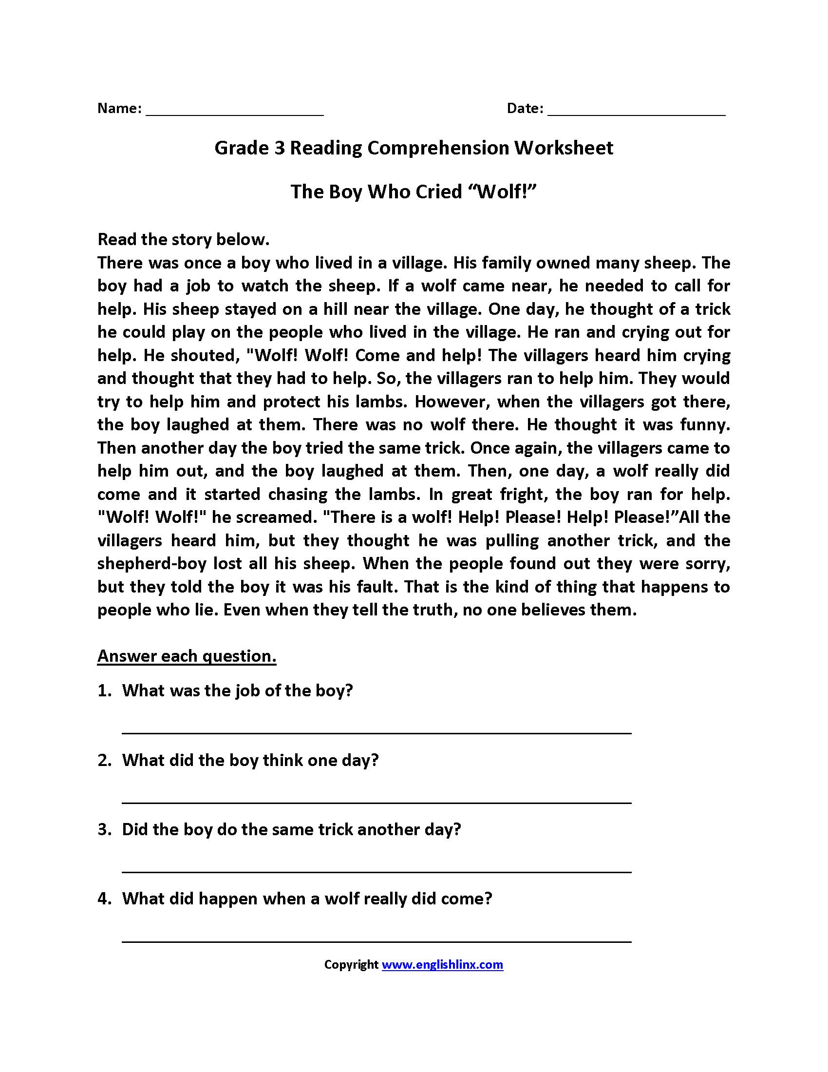 - 3 Reading Comprehension Worksheets Third Grade 3 In 2020 (With