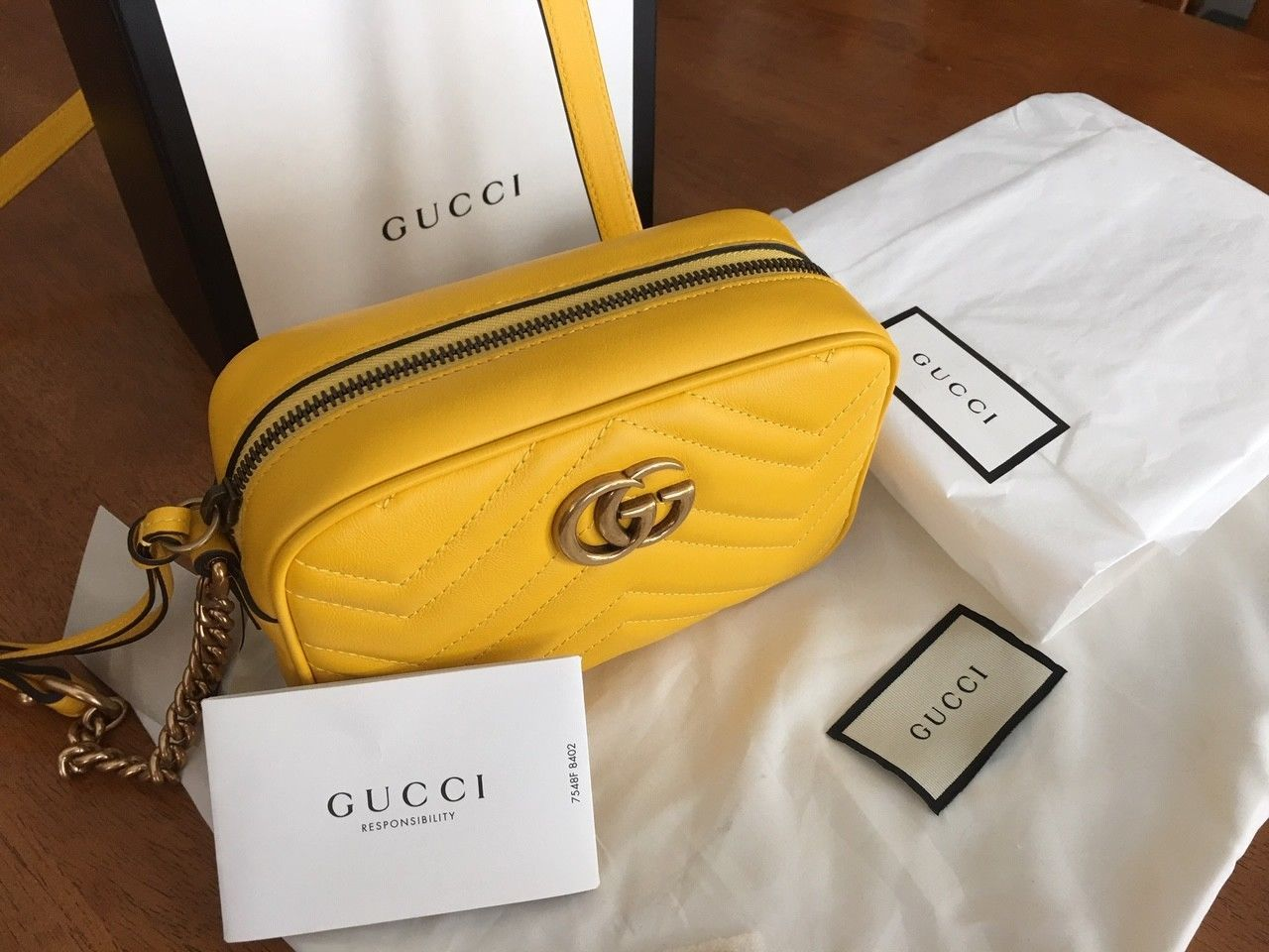 2ec928dd065f Gucci GG Marmont Matelasse Mini Shoulder Bag in Yellow w/ dust cover & box