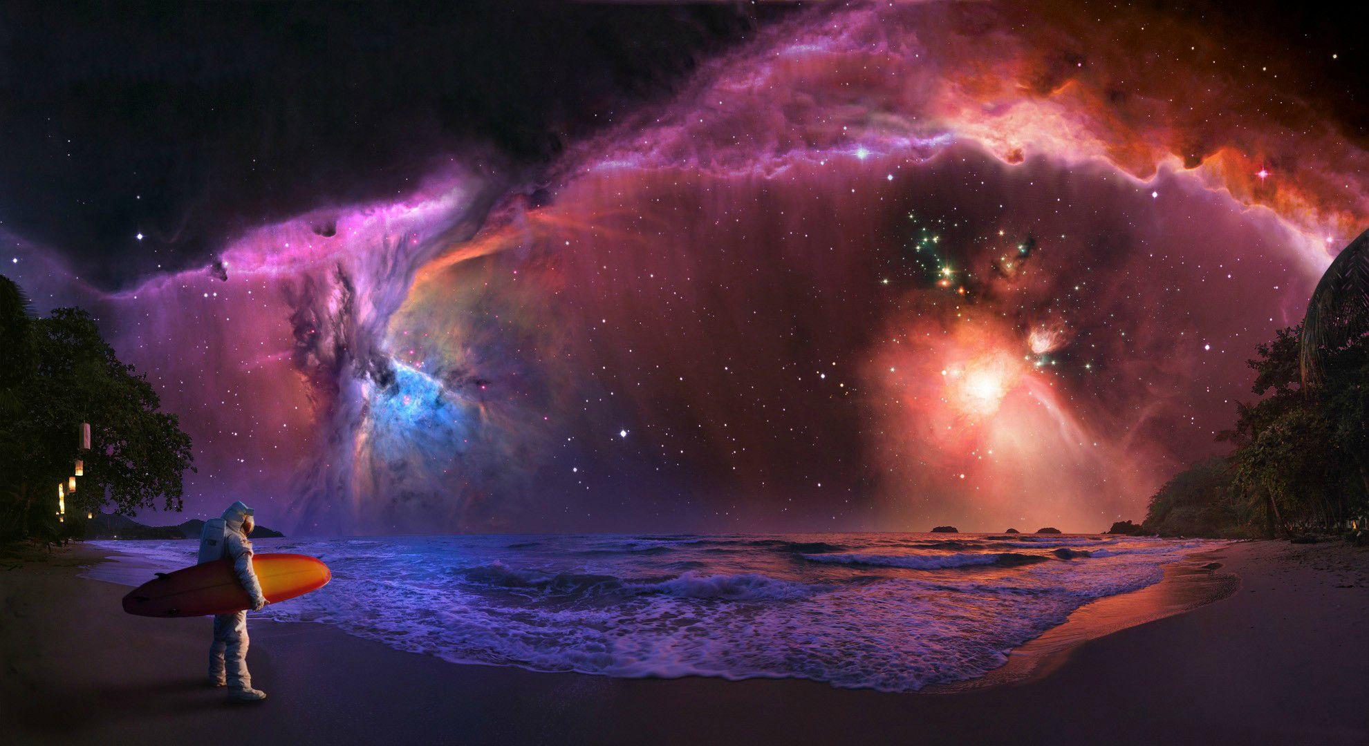 Astronaut Surfer 1980x1080 Nebula Wallpaper Hd Galaxy Wallpaper Galaxy Wallpaper