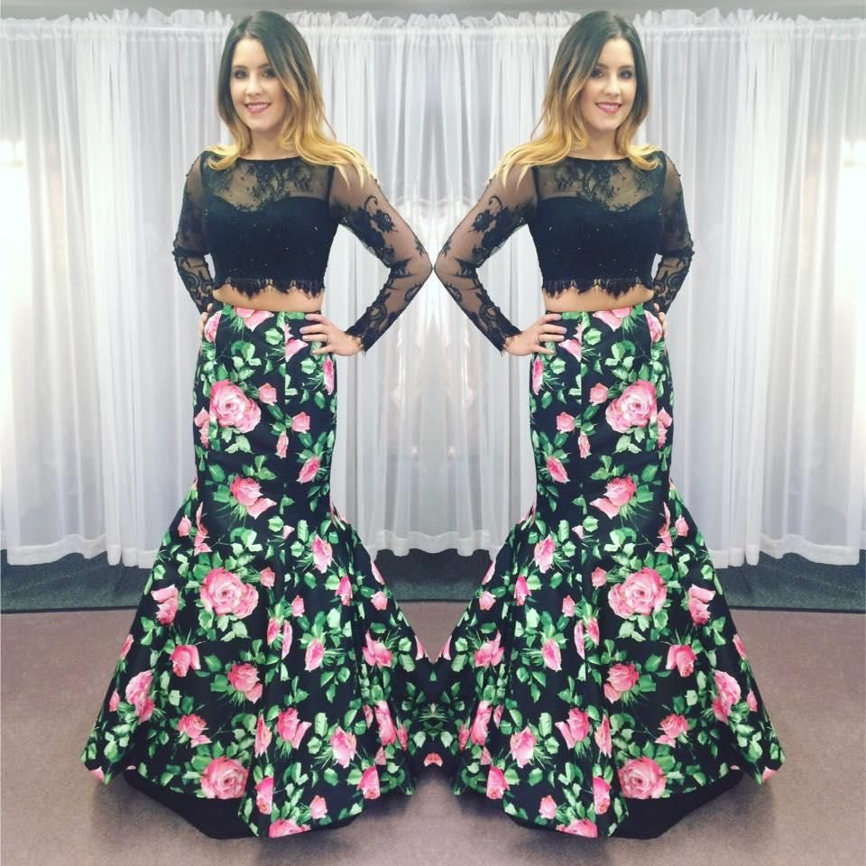 Emo prom dresses two pieces prom dresses with long sleeves and
