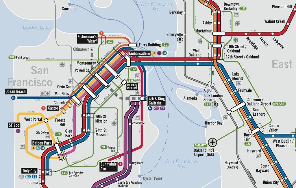 Transbay Transit Center Central Subway Map.Nice San Francisco Oakland Subway Map San Fran Subway Map Map