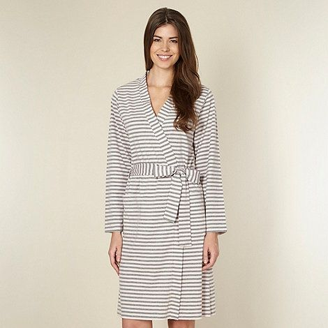 Lounge Sleep Grey Striped Jersey Robe At Debenhamscom