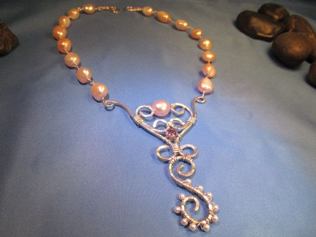 """Sterling silver, Baroque Pink pearl, Alexandrite necklace. """"Helena"""". $100.00, via Etsy."""