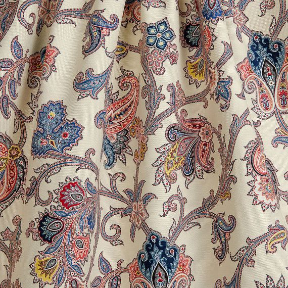 Traditional Drapery Panels Jacobean Floral Drapes Paisley Curtains Red Blue Yellow