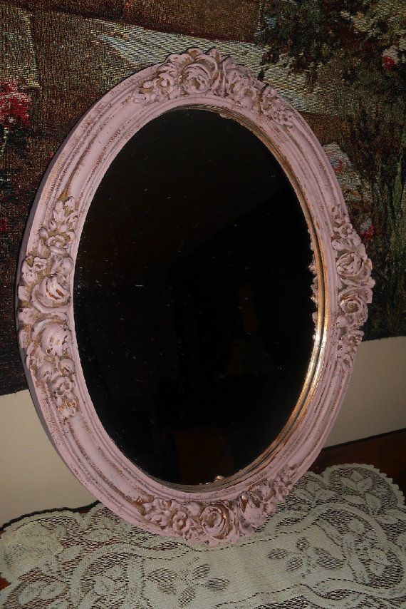 Upcycled Vintage Mauve Wall Mirror Distressed By