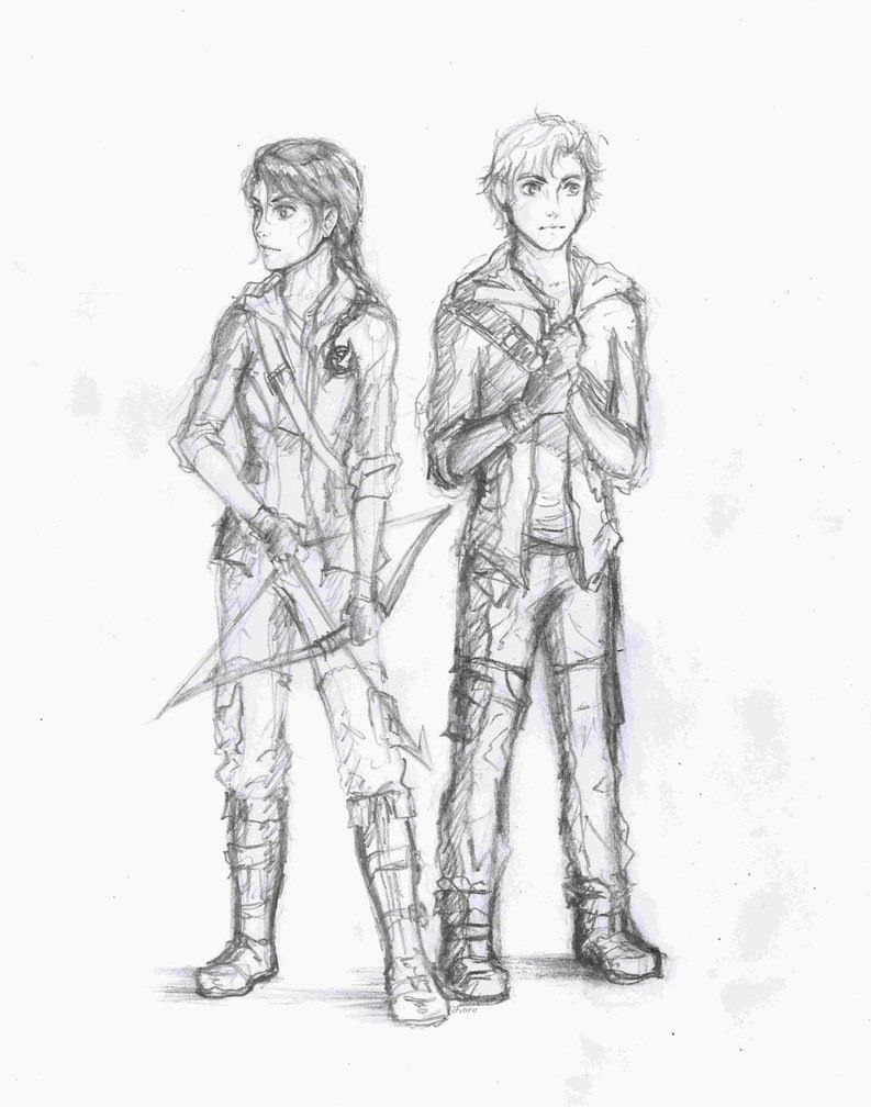 Hunger games coloring pages online - Hunger Games Fan Art Katniss And Peeta