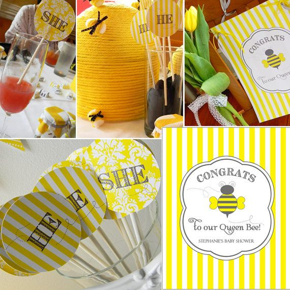 Printable PartyPack   BUMBLE BEE SHOWER by sweetsanity on Etsy, $40.00