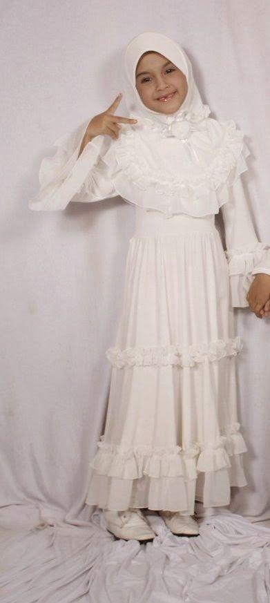 Model Baju Muslim Anak Perempuan Warna Putih Polos Dan Kombinasi
