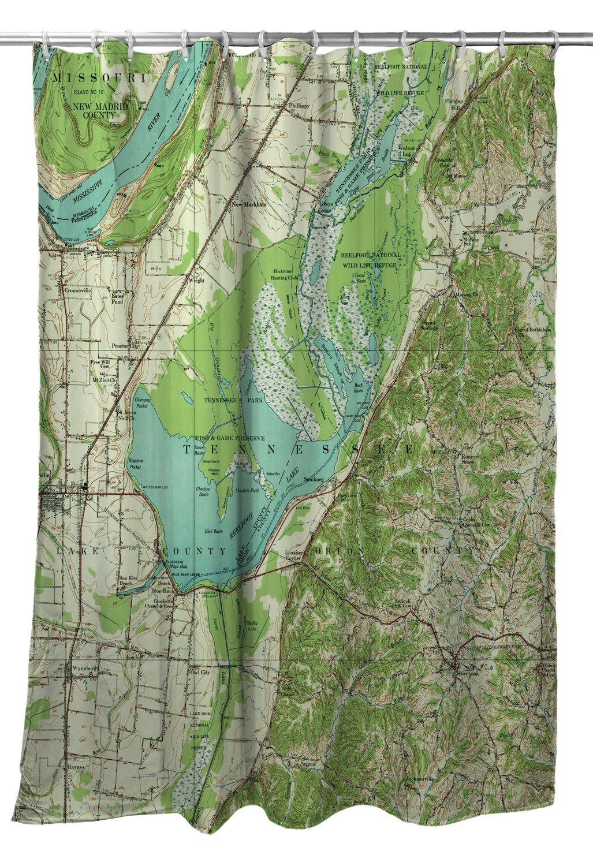 Reelfoot Lake Tennessee Map.Tn Reelfoot Lake Tn 1956 Topo Map Shower Curtain Nautical