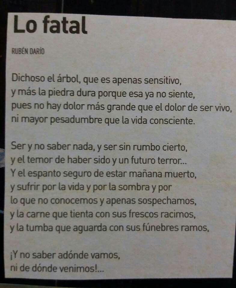 Lo Fatal Ruben Darío Poemas Modernistas Poemas Y Poesía