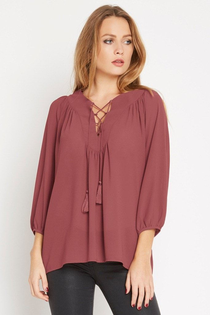 Parkway Chiffon Lace Up Blouse