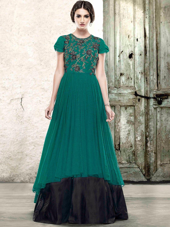 2f18b7cb67dd Green Party Wear Ready Made Net Gown