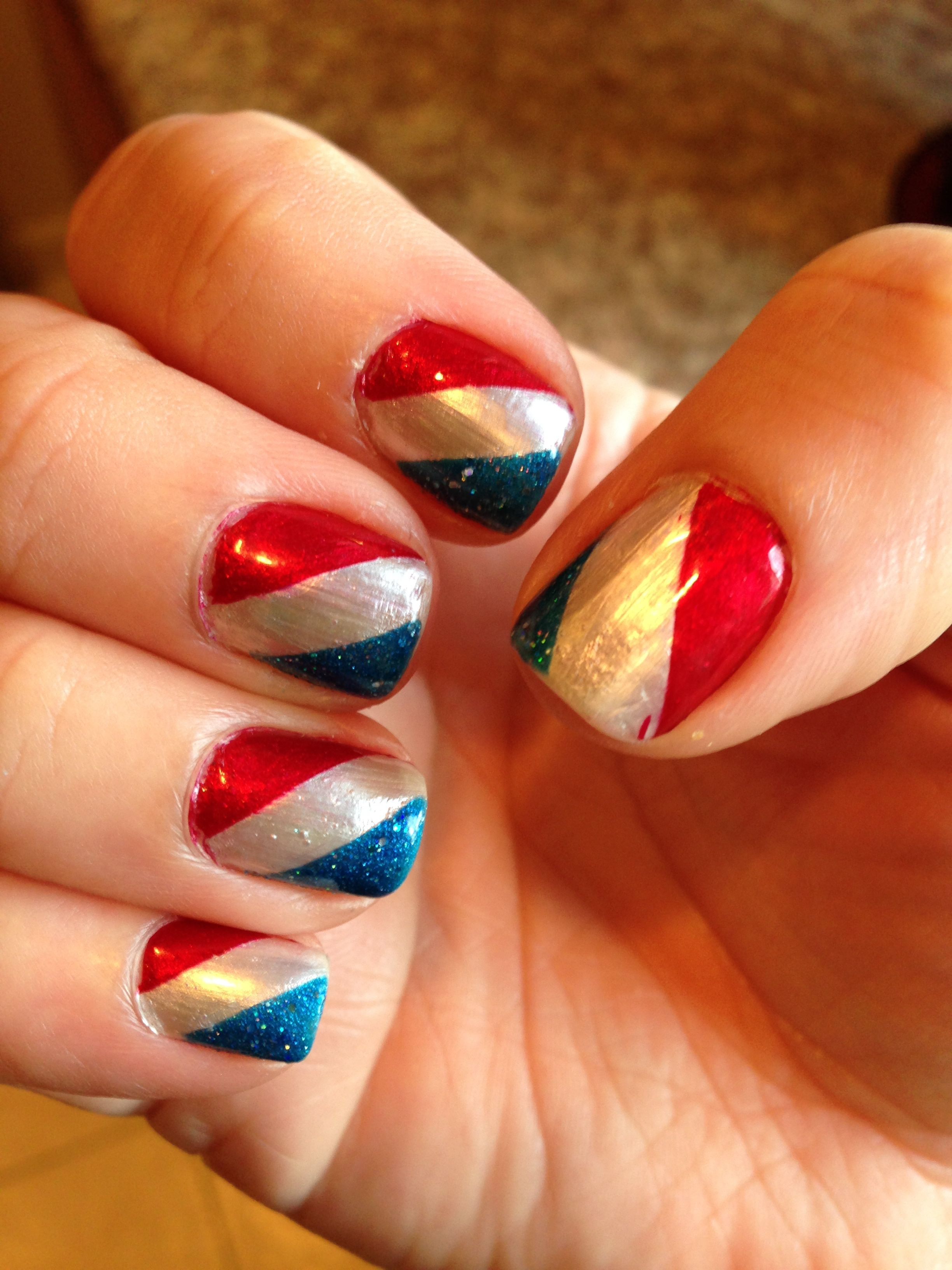 Nail Art Ive Created 4th Of July Used White As A Base Color Then