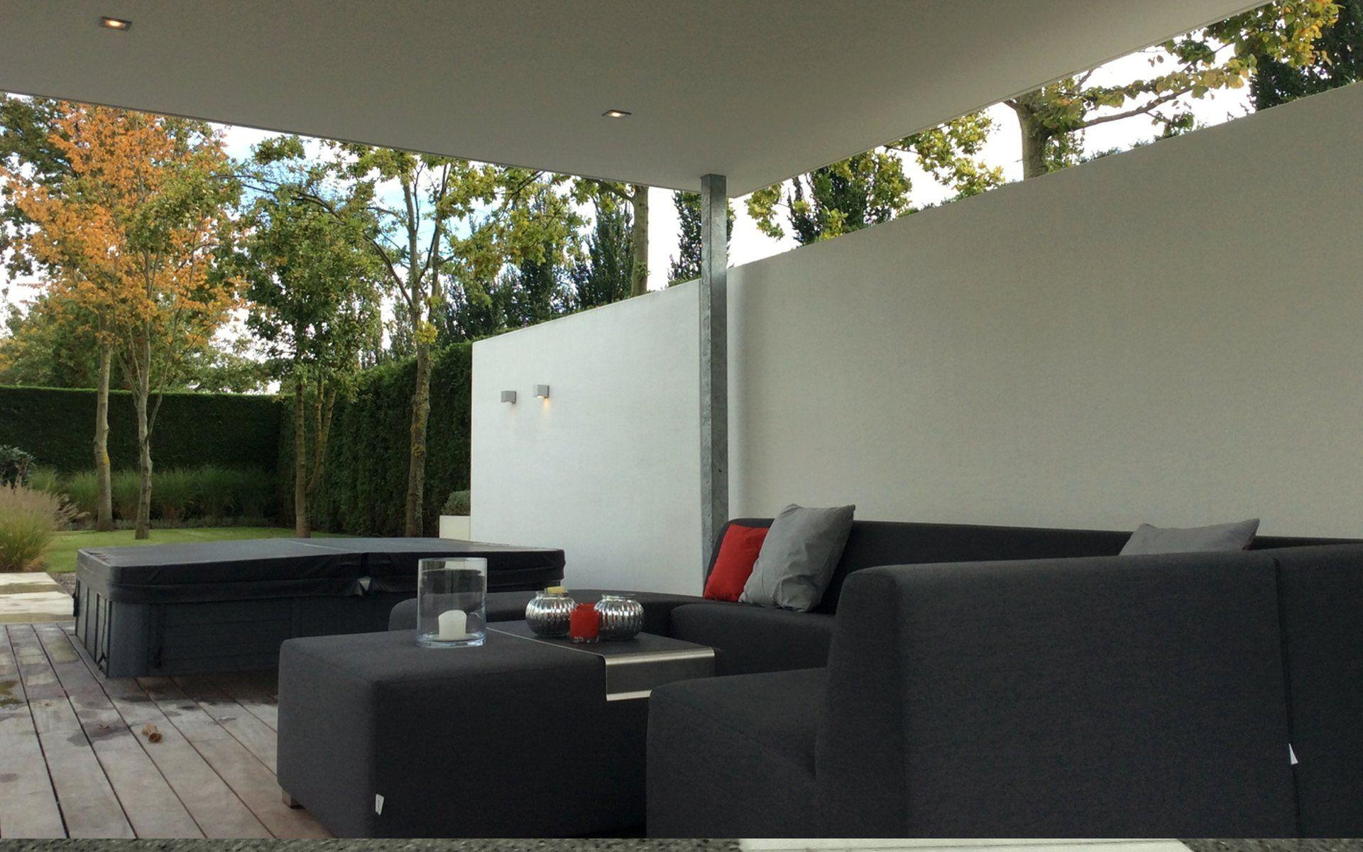 Strakke tuin met veranda verlichting muren aanbouw ideeën pinterest