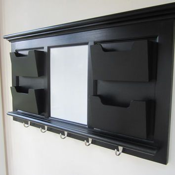 Black Wall Mail Organizer Magnetic Whiteboard With 5 Hooks