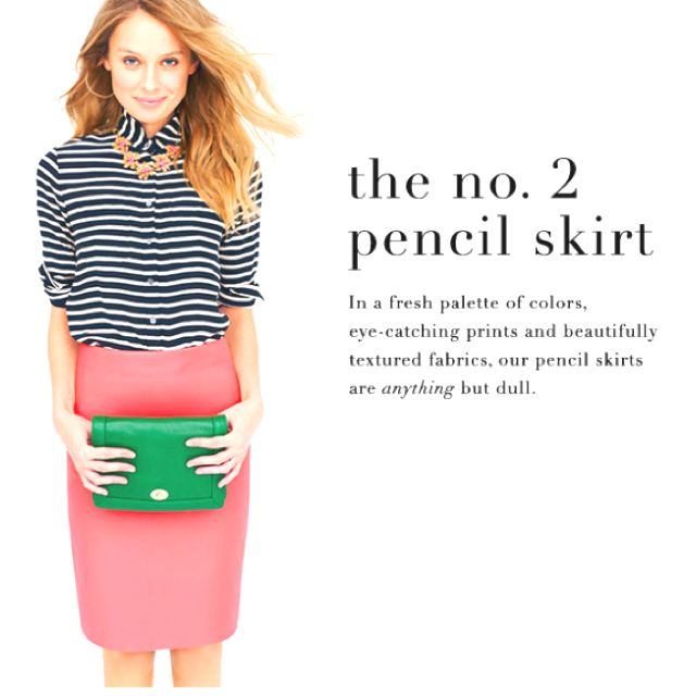 J. Crew pencil skirt!    And it's long enough to wear to work! It's so difficult to find conservative pencils skirts these days.