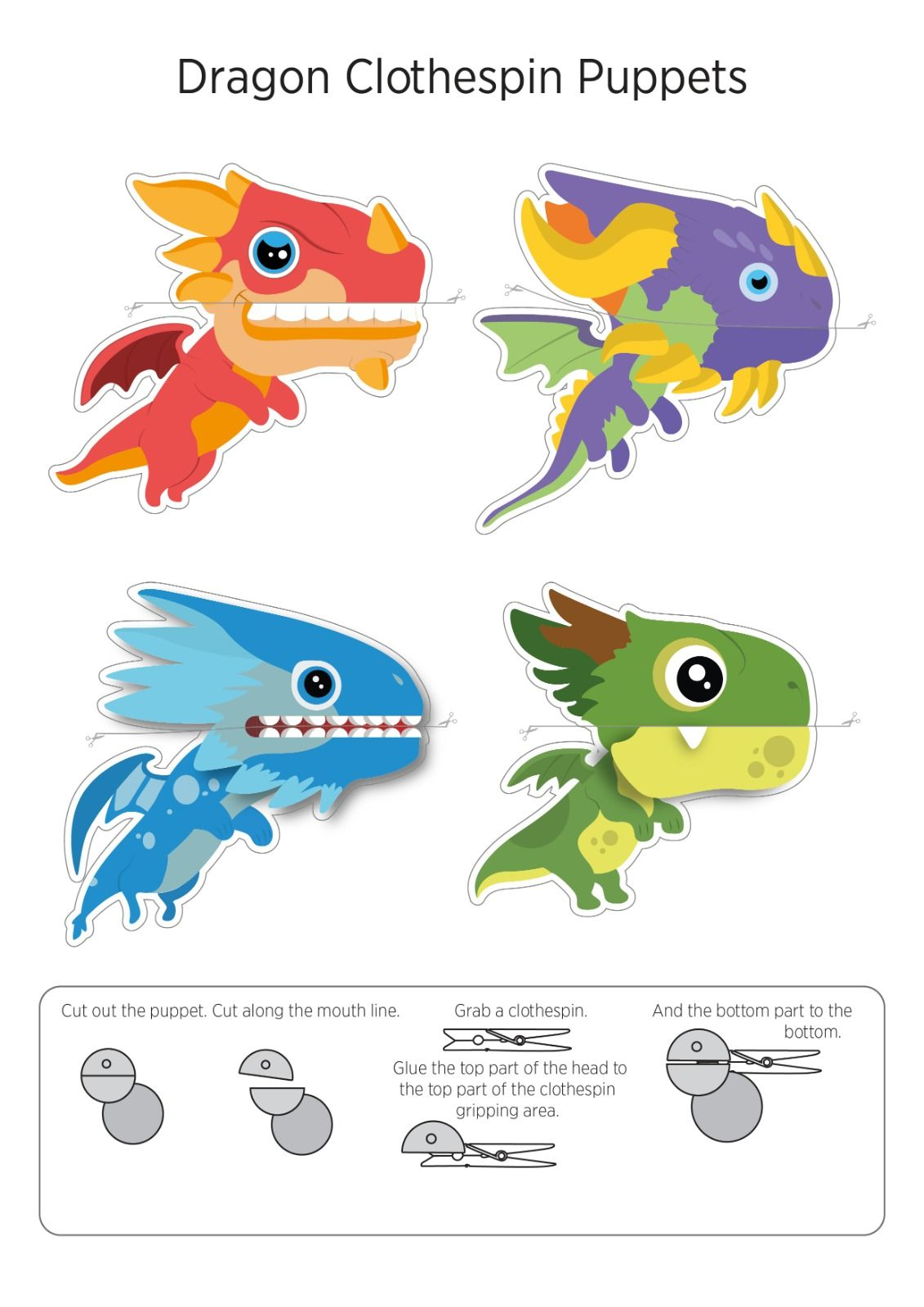 Dragon Clothespin Puppet Free Printables Puppets Clothes Pins Printables